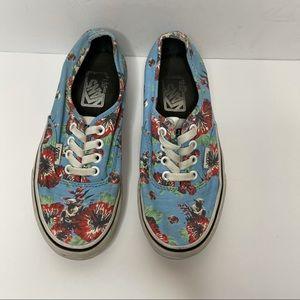 VANS Star Wars YODA  Floral Baby Blue Shoes sz 4